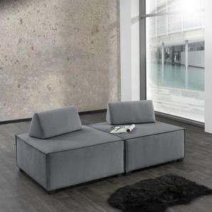Max Winzer Wohnlandschaft MOVE, Sofa-Set 10 aus 2 Hockern, inklusive Kissenaufsätze, individuell kombinierbar B/H/T: 180 cm x 70 90 cm, Flachgewebe 16525 grau Sofas Couches Möbel sofort lieferbar