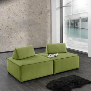 Max Winzer Wohnlandschaft MOVE, Sofa-Set 10 aus 2 Hockern, inklusive Kissenaufsätze, individuell kombinierbar B/H/T: 180 cm x 70 90 cm, Flachgewebe 16525 grün Sofas Couches Möbel sofort lieferbar