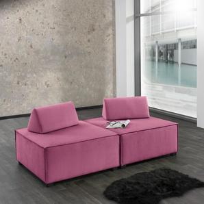 Max Winzer Wohnlandschaft MOVE, Sofa-Set 10 aus 2 Hockern, inklusive Kissenaufsätze, individuell kombinierbar B/H/T: 180 cm x 70 90 cm, Flachgewebe 16525 rosa Sofas Couches Möbel sofort lieferbar