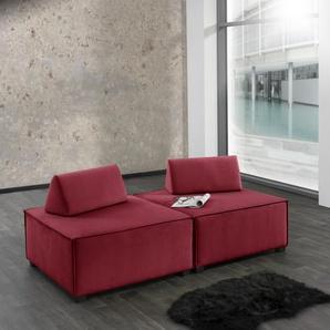 Max Winzer Wohnlandschaft MOVE, Sofa-Set 10 aus 2 Hockern, inklusive Kissenaufsätze, individuell kombinierbar B/H/T: 180 cm x 70 90 cm, Flachgewebe 16525 rot Sofas Couches Möbel sofort lieferbar