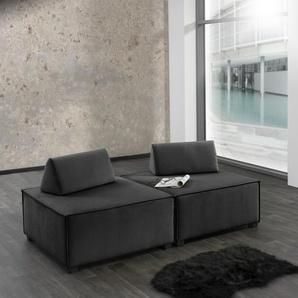 Max Winzer Wohnlandschaft MOVE, Sofa-Set 10 aus 2 Hockern, inklusive Kissenaufsätze, individuell kombinierbar B/H/T: 180 cm x 70 90 cm, Flachgewebe 16525 schwarz Sofas Couches Möbel sofort lieferbar