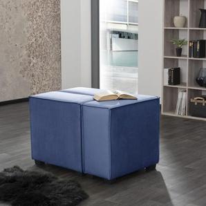 Max Winzer Wohnlandschaft MOVE, Sofa-Set 11 aus 3 Sitz-Elementen, individuell kombinierbar - Einzelsitze oder 1 Hocker B/T: 90 cm x 60 cm, Flachgewebe 16525 blau Sofas Couches Möbel sofort lieferbar
