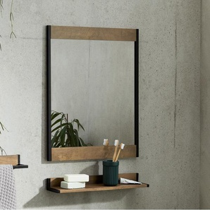 Maxine Wandspiegel (50 x 58 cm), Mangoholz und Schwarz
