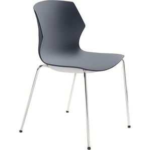 Mayer Sitzmöbel Stapelstuhl myPRIMO, stapelbar B/H/T: 51 cm x 80,5 53 cm, Gestell Chrom-Sitz und Rücken Kunststoff Anthrazit grau Stapelstühle Stühle Sitzbänke