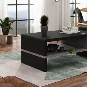 Mazzoni Couchtisch »Design Couchtisch Folk Schwarz matt / Beton Tisch Wohnzimmertisch 100x60x40cm mit Ablagefläche«