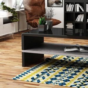 Mazzoni Couchtisch »Design Couchtisch Tisch Rock Schwarz Hochglanz / Beton Betonoptik Wohnzimmertisch 100x60x43cm mit Ablagefläche«