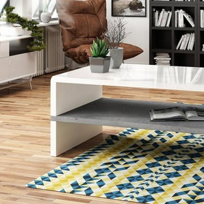 Mazzoni Couchtisch »Design Couchtisch Tisch Rock Weiß Hochglanz / Beton Betonoptik Wohnzimmertisch 100x60x43cm mit Ablagefläche«