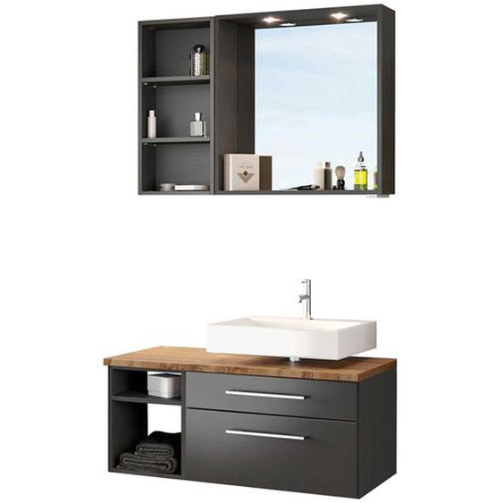 Möbel Kompelttset für Bad dunkel Grau und Wildeiche Dekor (3-teilig)