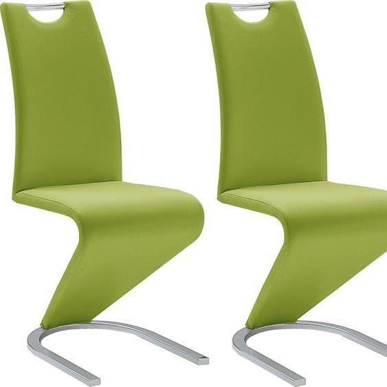 MCA furniture Freischwinger Amado, 2er-, 4er-, 6er-Set, Stuhl belastbar bis 120 Kg B/H/T: 45 cm x 102 62 cm, 2 St., Kunstleder uni, Set grün Stühle Sitzbänke