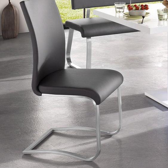 MCA furniture Freischwinger Arco, Stuhl mit Echtlederbezug, belastbar bis 130 Kg B/H/T: 43 cm x 103 52 cm, 2 St., Leder uni, Set grau Stühle Sitzbänke
