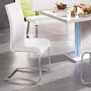 MCA furniture Freischwinger Arco, Stuhl mit Echtlederbezug, belastbar bis 130 Kg B/H/T: 43 cm x 103 52 cm, 2 St., Leder uni, Set weiß Stühle Sitzbänke