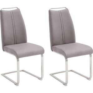 MCA furniture Freischwinger Giulia A, Stuhl bis max. 140 Kg belastbar B/H/T: 44 cm x 104 61 cm, 2 St., Leder, Set grau Stühle Sitzbänke