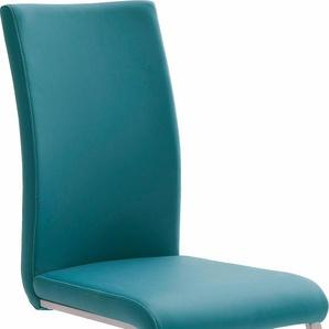 MCA furniture Freischwinger Paulo 1, Stuhl belastbar bis 120 kg B/H/T: 42 cm x 102 58 cm, 4 St., Kunstleder Lederoptik blau Polsterstühle Stühle Sitzbänke