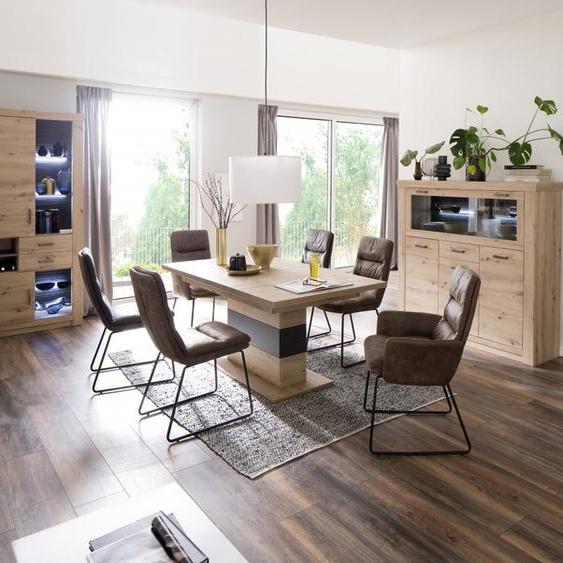MCA Furniture Kufenstuhl (2erSet) Westminster mit Armlehnen grau