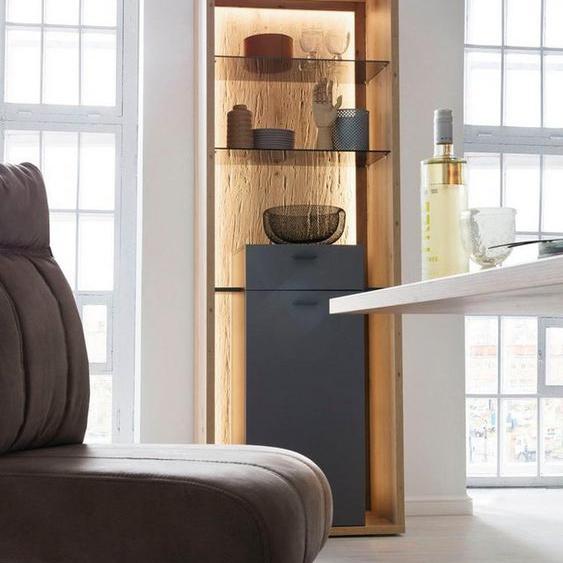 MCA furniture Vitrine »Lizzano« moderner Landhausstil, Wohnzimmerschrank mit 3-D Rückwand, wahlweise mit Beleuchtung