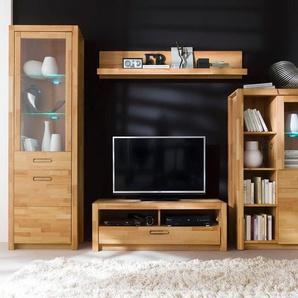 MCA living Wohnwand »Fenja«, (Set, 4-St), mit Softclose-Funktion und aus Massivholz, inkl. Beleuchtung