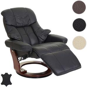 MCA Relaxsessel Calgary 2, Fernsehsessel Sessel, Echtleder 150kg belastbar ~ schwarz, Walnuss-Optik