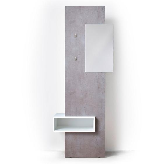 MCA Zara Garderobenkombination 2-tlg. 80x34x205cm Weiß/Beton-Optik Weiß/Beton