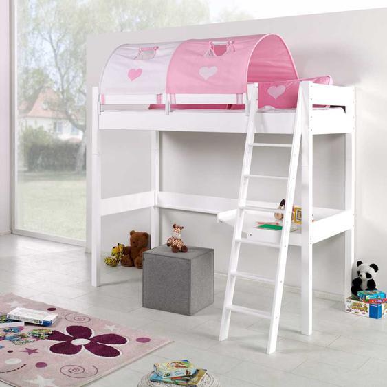 Mädchen Hochbett in Weiß Rosa mit Schreibtisch und Tunnel