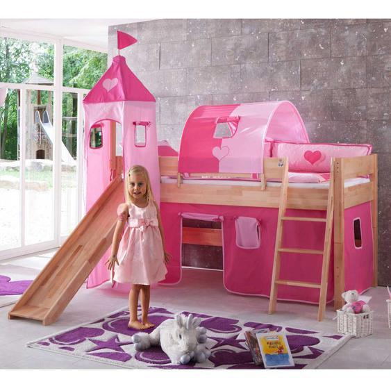 Mädchen-Hochbett mit rosa Textilien Buche Massivholz