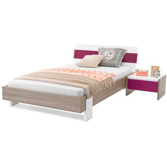 M�dchen Jugendbett in Holz Pink mit Nachtkonsole (2-teilig)