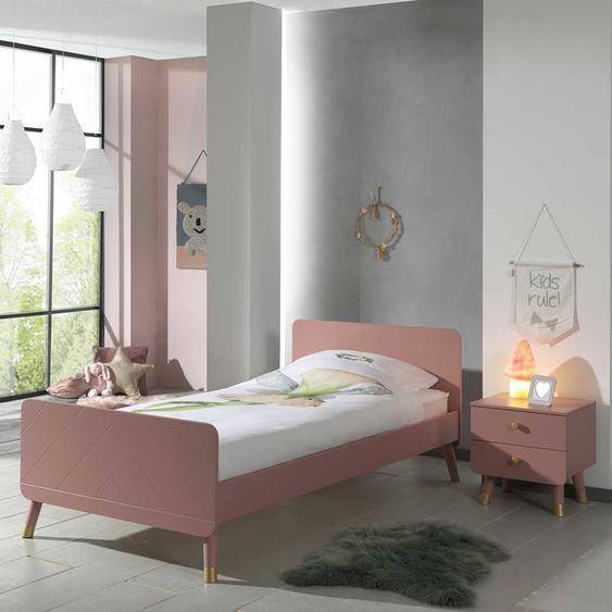Mädchen Jugendbett in Rosa und Goldfarben Nachttisch (2-teilig)