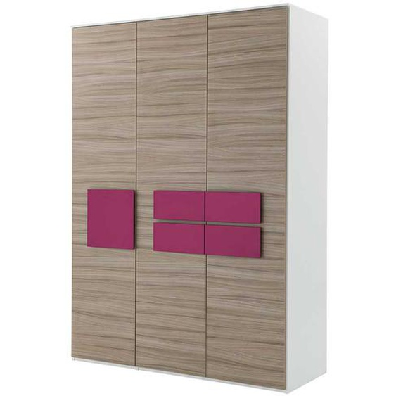 Mädchenzimmer Kleiderschrank in Holz Pink 3 türig