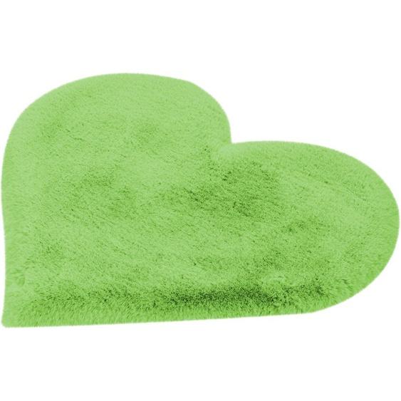 me gusta Kinderteppich Lovely Kids 1225-Heart, herzförmig, 36 mm Höhe, weiche softe Haptik, Kunstfell, Wohnzimmer 60x70 cm, grün Shaggy-Teppiche Hochflor-Teppiche Teppiche