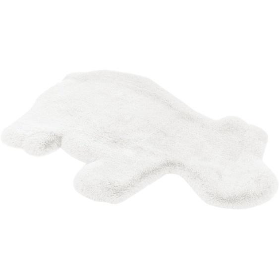 me gusta Kinderteppich Lovely Kids 325-Hippo, tierförmig, 36 mm Höhe, weiche softe Haptik, Kunstfell, Wohnzimmer 55x90 cm, weiß Shaggy-Teppiche Hochflor-Teppiche Teppiche