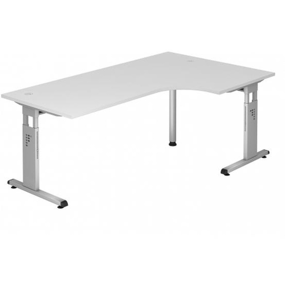 MEGA 82 S - Holz C-Fuß Silber 200 x 120 höhenverstellbar Weiß/Silber