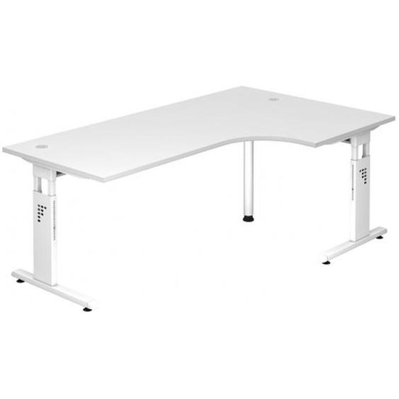 MEGA 82 W - Holz C-Fuß Silber 200 x 120 höhenverstellbar Weiß/Weiß
