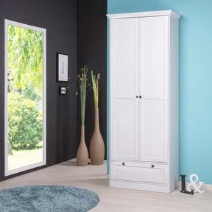 Mehrzweckschrank in weiß, mit 2 Türen, 1 Schubkasten, 5 Einlegeböden, Metallknöpfe im Vintage-Look dezenter Sockelblende, Maße: B/H/T ca. 80/200/39 cm