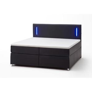 meise.möbel Boxspringbett, Schwarz, Lederoptik 180 x 200 cm