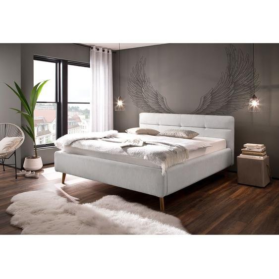 meise.möbel Polsterbett Lotte 180x200 cm Webstoff Hellgrau mit Bettkästen/Lattenrost