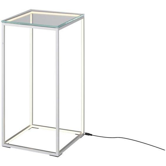 Meisterleuchten Beistelltisch mit LED-Kantenbeleuchtung ¦ silber ¦ Maße (cm): B: 30 H: 60 T: 30
