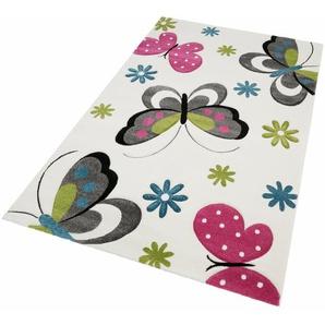 merinos Kinderteppich GARTEMPE, rechteckig, 13 mm Höhe, Schmetterlinge, handgearbeiteter Konturenschnitt B/L: 160 cm x 230 cm, 1 St. beige Kinder Kinderteppiche mit Motiv Teppiche