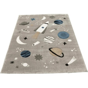 merinos Kinderteppich Indigo Kids 22611, rechteckig, 18 mm Höhe, Motiv Weltall B/L: 120 cm x 170 cm, 1 St. grau Kinder Spielteppiche Kinderteppiche Teppiche