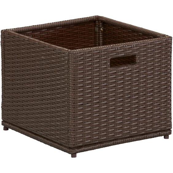 MERXX Auflagenbox, Polyrattan B/H/T: 46 cm x 39 49 braun Garten- Kissenboxen Gartenmöbel Gartendeko Auflagenbox