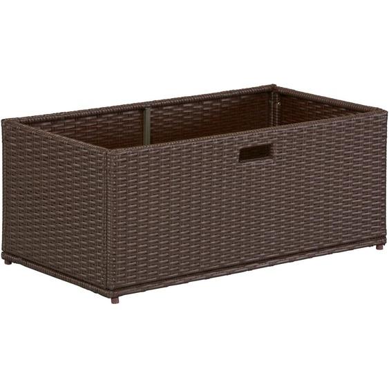 MERXX Auflagenbox, Polyrattan B/H/T: 95 cm x 39 49 braun Garten- Kissenboxen Gartenmöbel Gartendeko Auflagenbox