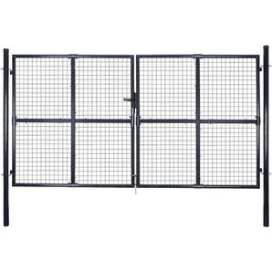Mesh-Gartentor Verzinkter Stahl 289 x 150 cm Grau - VIDAXL
