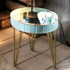 Metall Beistelltisch in Blaugrau Bronzefarben