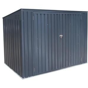 Metall Mülltonnenbox Grau für 3 Mülltonnen 240 Liter 131 cm x 235 cm x 100 cm