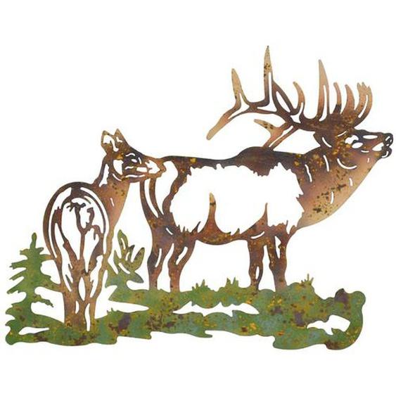 Metall Wanddeko mit Hirsch Motiv 60 cm breit