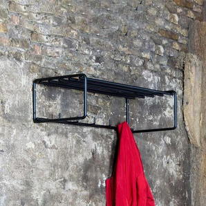 Metall Wandgarderobe in Schwarz 70 cm breit