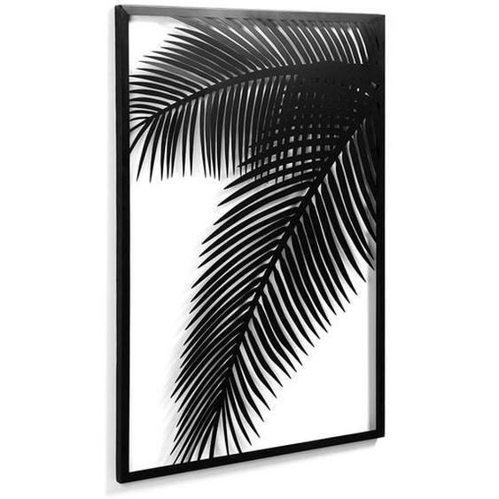 Metallbild mit Blätter Motiv 100 cm hoch