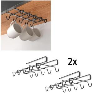Metaltex Einhängekorb, (2 St.), für 10 Tassem Einheitsgröße schwarz Einhängekorb Klemmregale Küchenregale und Haushaltsregale Regale