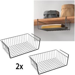 Metaltex Einhängekorb, (2 St.), Industrial Look, zum Einhängen Einheitsgröße schwarz Einhängekorb Klemmregale Küchenregale und Haushaltsregale Regale