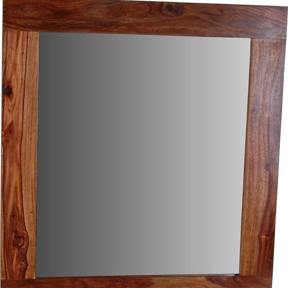 MiaMöbel Bad Spiegel mit Ablage Glas, Massivholz Sheesham Modern Indien Indisch