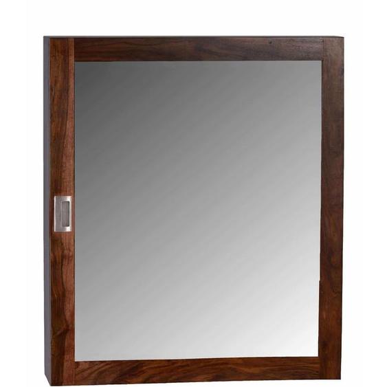 MiaMöbel Bad Spiegelschrank mit zwei Böden Glas, Massivholz Sheesham Modern Indien Indisch