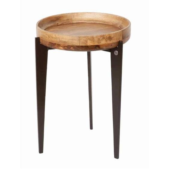 MiaMöbel Beistelltisch Tom Tailor, rund 40 cm Massivholz, Metall Mango Modern Indien Indisch